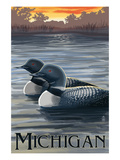 Michigan - Loons Scene Prints by  Lantern Press