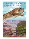 Grand Canyon National Park - Cougar Jumping Prints by  Lantern Press