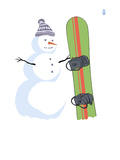 Snowman with Snowboard Prints by  Lantern Press