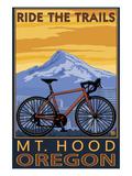 Mt. Hood, Oregon - Ride the Trials Poster van  Lantern Press