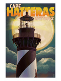 Cape Hatteras Lighthouse with Full Moon - Outer Banks, North Carolina Prints by  Lantern Press