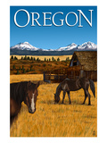 Horses and Mountain - Oregon Prints by Lantern Press