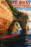 Pictured Rocks National Lakeshore, Michigan Premium Giclee Print by  Lantern Press