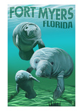 Manatees - Fort Myers, Florida Print by Lantern Press