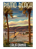 Pismo Beach, California - Surfer and Pier Posters by  Lantern Press