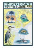 Edisto Beach, South Carolina - Nautical Chart Kunstdruck von  Lantern Press