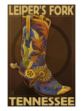 Leiper's Fork, Tennessee - Cowboy Boot Print by Lantern Press