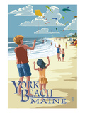 Lantern Press - York Beach, Maine - Children with Kites - Poster