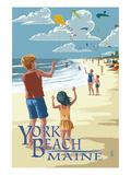 Lantern Press - York Beach, Maine - Children with Kites - Poster