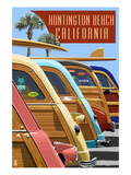 Huntington Beach, California - Woodies Lined Up Posters par  Lantern Press