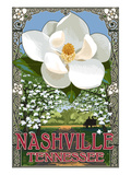 Magnolias - Nashville, Tennessee Art by Lantern Press 