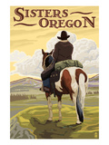 Sisters, Oregon - Cowboy on Horseback Art by  Lantern Press