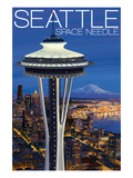 Space Needle Aerial View - Seattle, WA Art by Lantern Press 