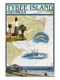 Tybee Island, Georgia - Nautical Chart Prints by  Lantern Press