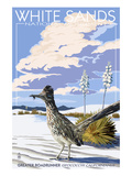 White Sands National Monument, New Mexico - Roadrunner Print by Lantern Press 