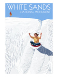 White Sands National Monument, New Mexico - Sledding on Sand Prints by Lantern Press 