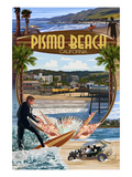 Pismo Beach, California - Montage Scenes Art by  Lantern Press