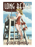 Long Beach, California - Lifeguard Pinup Prints by  Lantern Press