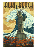 Alki Beach, West Seattle, WA - Lady Liberty Statue Print by  Lantern Press