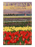 Holland, Michigan - Tulip Fields Print by  Lantern Press