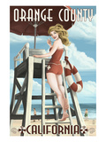 Orange County, California - Lifeguard Pinup Art by  Lantern Press