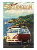 Cruise Washington - VW Van Art by  Lantern Press