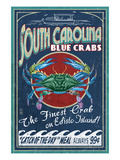 Edisto Beach, South Carolina - Blue Crabs Poster by Lantern Press 