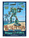 San Diego, California vs. The Atlantean Invaders Prints by  Lantern Press