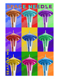 Space Needle Pop Art - Seattle, WA Posters by  Lantern Press