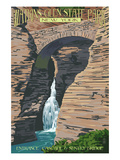 Watkins Glen State Park, New York - Entrance Cascade and Sentry Bridge Poster di  Lantern Press