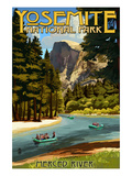 Merced River Rafting - Yosemite National Park, California Poster by Lantern Press 