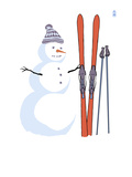 Snowman with Skis Prints by Lantern Press