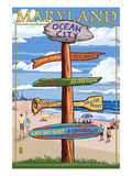 Ocean City, Maryland - Sign Destinations Poster by Lantern Press 