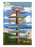 Pentwater, Michigan - Sign Destinations Prints by  Lantern Press