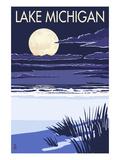 Lake Michigan - Full Moon Night Scene Prints by  Lantern Press