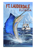 Ft. Lauderdale, Florida - Sailfish Scene Prints by  Lantern Press