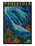 Dolphin Paper Mosaic - Pensacola, Florida Prints by Lantern Press