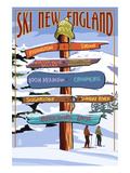 New England - Ski Areas Sign Destinations Print by  Lantern Press
