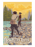 Deschutes River - Bend, Oregon - Women Fishing Prints by  Lantern Press