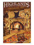 Highlands, North Carolina - Lodge Interior Art by Lantern Press 