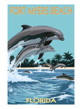 Dolphins Jumping - Fort Myers Beach, Florida Stampe di  Lantern Press