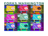 Lantern Press - Forks, Washington - Town Welcome Sign Pop Art - Art Print