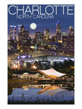 Charlotte, North Carolina - Skyline at Night Art by  Lantern Press
