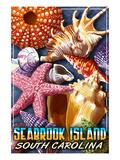 Seabrook Island, South Carolina - Shell Montage Posters by  Lantern Press