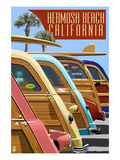 Hermosa Beach, California - Woodies Lined Up Prints by  Lantern Press