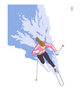 Downhill Skier Stylized - Female Prints by Lantern Press