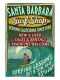 Santa Barbara, California - Surf Shop Posters by Lantern Press 