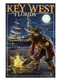Key West, Florida - Pirate and Treasure Art by  Lantern Press