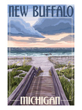 New Buffalo, Michigan - Beach Scene Affiches par Lantern Press 