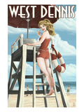 West Dennis, Massachusetts - Lifeguard Pinup Girl Art by  Lantern Press